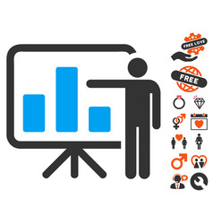 Bar chart presentation icon with valentine bonus vector