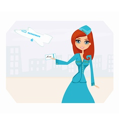 Beautiful stewardess with ticket vector image