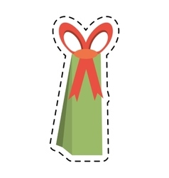 Big green gift box line dotted vector