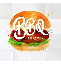 Burger BBQ watercolor vector image