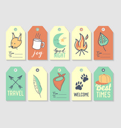 Camping tags and labels freehand style picnic vector