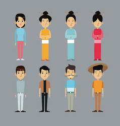 Character oriental people with traditional clothes vector