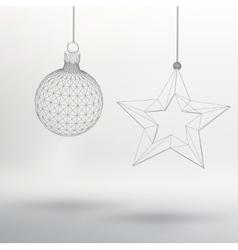 Christmas decoration ball and star Polygon vector image vector image