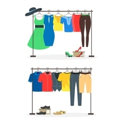 Clothes Racks with Wear on Hangers Set vector image