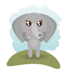 Cute elephant animal wildlife vector
