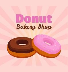 Donut poster banner cartoon flat style vector