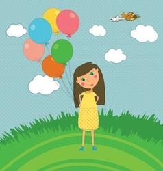 Girl Outdoors with Balloons vector image