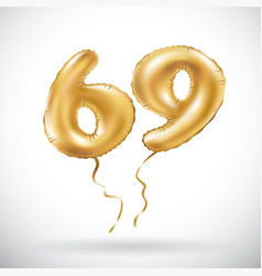 golden number 69 sixty nine metallic balloon vector image vector image