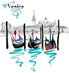Gondolas in venice lagoon italia vector