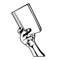 hand holding a book vector image
