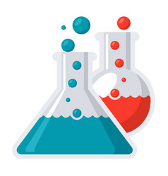 Laboratory flasks icon vector