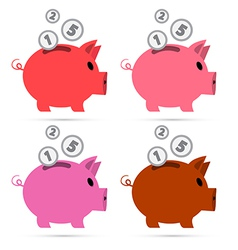 Piggy Bank Set Isolated on White Background vector image vector image