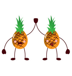 Pinapples high five happy fruit kawaii icon image vector