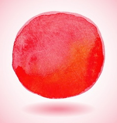 Red watercolor paint circle vector
