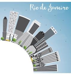 Rio de janeiro skyline with gray buildings vector