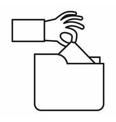 Robbery secret data in folder icon vector