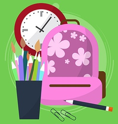 School bag with a pencil case in which the pens vector