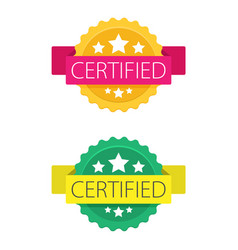 set of certified stamp or seal sign isolated on vector image