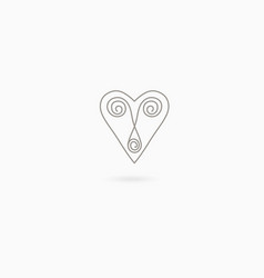 simple linear heart vector image vector image