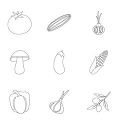 vegetables set icons in outline style big vector image