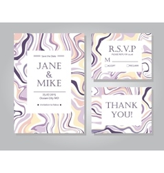 Wedding invitation card suite with ink vector image vector image