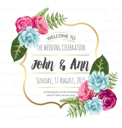 Wedding invitation card with painted flowers vector
