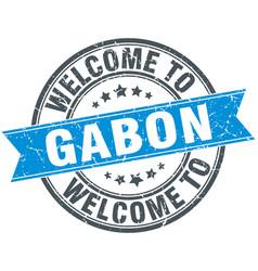 Welcome to gabon blue round vintage stamp vector