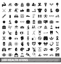 100 health icons set in simple style vector