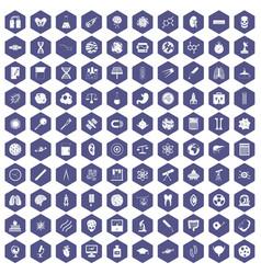 100 science icons hexagon purple vector