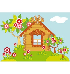 Landscape with houses and flowering trees vector