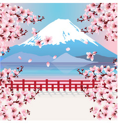 Mountain with cherry blossom flowers vector