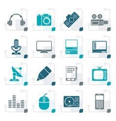 Stylized media equipment icons vector