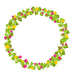 Floral circle isolated with red berries and yellow vector