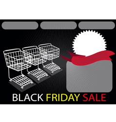 Three shopping carts and banner in black friday vector