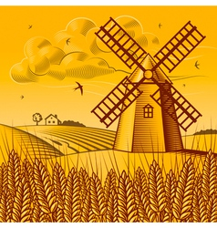 Landscape with windmill vector