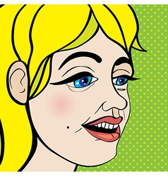 Pop art girl close up vector