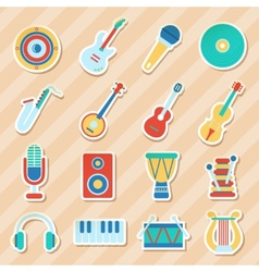 Set of musical stickers vector