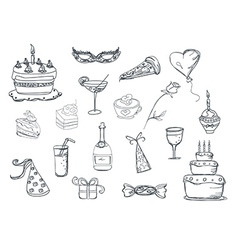 Set of party doodles vector