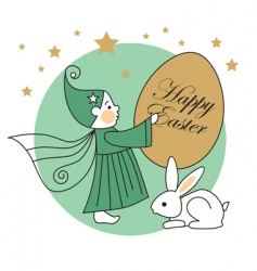 Easter egg elf and rabbit vector image