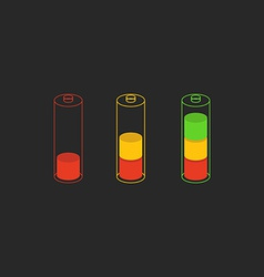 Battery level charge indicator icon vector