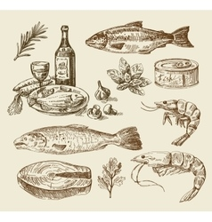 Hand drawn sea food sketch vector