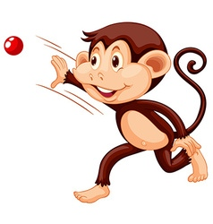 Little monkey throwing red ball vector