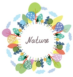 Nature frame with trees and plants vector