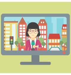 Television set broadcasting interview vector