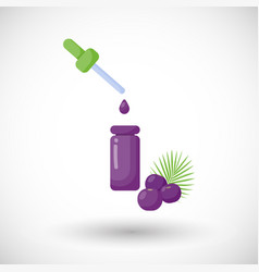 Acai berry oil flat icon vector