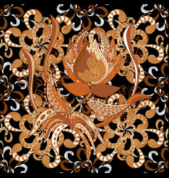art inspiblack brown and orange style flowers and vector image