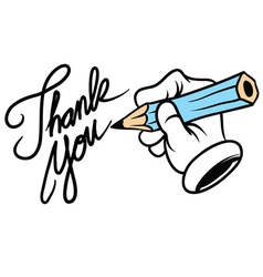 cartoon hand writing thank you vector image vector image