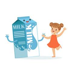 cute happy little girl and funny milk carton box vector image