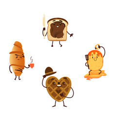 Funny breakfast characters with smiling faces vector