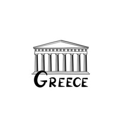 greece sign greek famous landmark temple travel vector image vector image